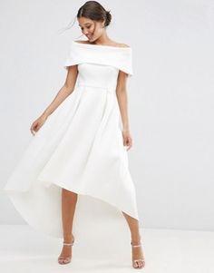 Платье макси с открытыми плечами и асимметричным подолом ASOS
