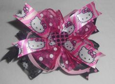Black And Pink Glitter Heart Hair Bow by mlmissal on Etsy, $6.00