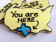 Location cookies~ No matter where you live these cookies will work for your party, sports team or even a fun cookie if you or a neighboor are moving orhaving a housewarming.
