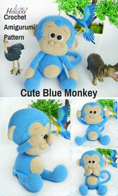 This cute little Blue Monkey is a sweet crocheted amigurumi doll that would love to monkey around your house. You can create yourown Blue Monkey with this downloadable pattern. #crochet #amigurumi #crochetdoll #ad #amigurumidoll #amigurumipattern #monkey #instantdownload