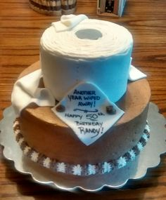 Over the hill toilet paper cake