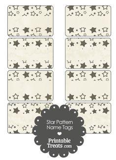 Vintage Black Star Pattern Name Tags from PrintableTreats.com