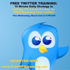GET TRAFFIC TO YOUR WEBSITES FROM TWITTER  5 things you will learn from this FREE Twitter Training... How to use Twitter to attract hundreds of ultra-targeted new followers every single day  A step by step plan to turn your brand new followers into 5-10 free leads per day on complete auto-pilot  My systematic approach to get hundreds of visitors per day to your blog posts and turn them into new leads sales and raving fans (100% automated)  How to use Twitter in conjunction with my favorite…