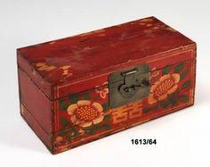 Caja Madera Roja Decoración Oriental.