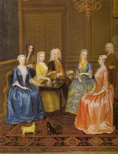 Detail of A Tea Party at Lord Harrington's by C. Phillips from 1730.
