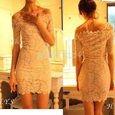8 bucks on ebay, not a bad gamble on a possibly awesome reception dress? If it sucks we can cut it up for material and still have a bargain. Women's Boat Neck Off Shoulder Lace Strap Slim Sexy Clubwear Party Mini Dress | eBay