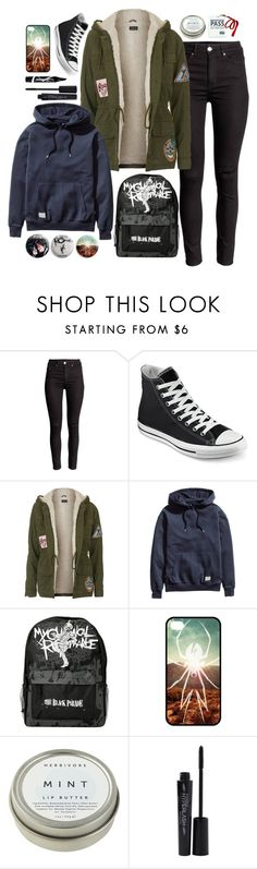 """""""Disenchanted // My Chemical Romance"""" by megmara ❤ liked on Polyvore featuring Converse, Topshop, H&M, CB2, Smashbox, Maybelline, women's clothing, women, female and woman"""