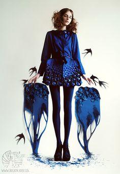 ペーパークラフトとの融合が綺麗なファッションフォト。(via The First Swallow)
