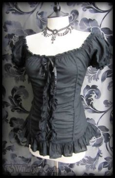 Gothic Black Lace Up Ruffle Corset Style Gypsy Wench Top 10 12 Steampunk Maiden | THE WILTED ROSE GARDEN on eBay // Worldwide Shipping Available