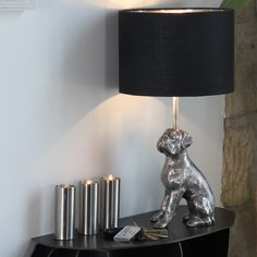"""Re-create our """"Gatsby"""" interiors trend for Autumn/Winter 2014 with this Aluminium Dog In Antique Silver Lamp (base only - shade sold separately)"""