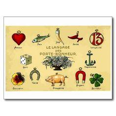 good luck charms postcard