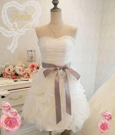 花嫁の 二次会 ミニドレスA1335♪ウェディングドレス ミニ/通販・卸のANNAN WEDDING