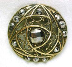 "Antique Brass Button Elaborate Pierced Design w/ Cut Steel Accents 1 & 3/16"""