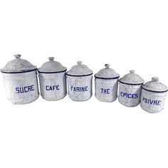 #Vintage Stock your Retro Kitchen with Ruby Lane @rubylanecom -- Group of 6 Vintage French Enamelware Canisters in White and Blue Complete with Lids