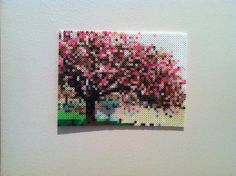 Cherry Blossom perler beads Hanging Wall Art by SweetLolitas