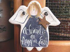 Friends Gift  Salt Dough Angel Ornament by cookiedoughcreations, $5.95