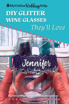 Make these personalized DIY wine glasses as holiday gifts or favors for the wedding party or shower. Stemless wine glasses are all the rage. And these, in your wedding colors, are fancy enough for any wedding. Or as a fun crafts project. Watch and read the step-by-step how to on the MyOnlineWeddingHelp.com blog. Glitter Wine Glasses, Diy Wine Glasses, Wedding Crafts, Diy Wedding, Wedding Ideas, Reception Ideas, Wedding Reception, Tumbler Cups, Candle Making