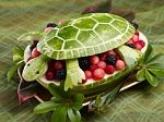 Watermelon carved into a turtle