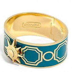 Coach bracelet in teal and gold....oh my!