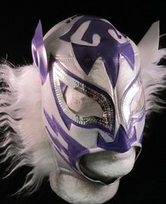 WHITE TIGER (pro-fit) Vintage Mexican Wrestling Mask Lucha Libre WHITE/PUR
