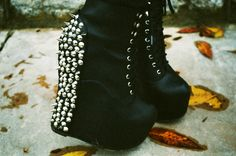 A pair of the lovely Grav3yardgirl's spiked platform wedges - Find 150+ Top Online Shoe Stores via http://AmericasMall.com/categories/shoes.html