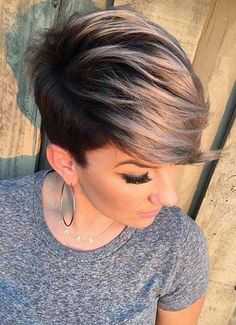 Short pixie hair cut / hairstyle / black and blonde / shaved