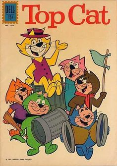 Top Cat - Top Cat is a Hanna-Barbera prime time animated television series which ran from November 1961 to April 1962 for a run of 30 episodes on the ABC network. Reruns are played on Cartoon Network's classic animation network Boomerang. Vintage Comic Books, Vintage Cartoon, Vintage Comics, Old Comic Books, Poster Vintage, Old School Cartoons, Old Cartoons, 80s And 90s Cartoons, Classic Cartoon Characters