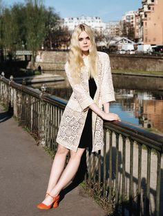 Who What Wear Elle Fanning British Vogue UK June 2014 Elle Of The Ball Photographer Angelo Pennetta  Styled by Francesca Burns Cover Shoot Long Blonde Retro Hair Mascara Eyeliner Beauty 60s Inspired Miu Miu Lace Jacket Black Dress Red Patent May Jane Block Heels