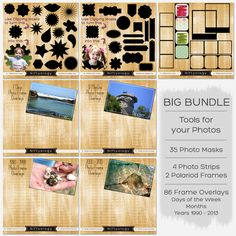 Save 21.00 on a huge bundle of tools for your photos! Included are 35 Photo Clipping Masks, 4 Photo Strip Frames, 2 Polaroid Frames, and 86 Frame overlays! Everything is high resolution 300dpi in .PNG file format with a transparent background.