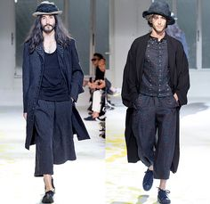 Yohji Yamamoto 2015 Spring Summer Mens Runway Catwalk Collection - Mode à Paris Fashion Week Mode Masculine France - Nomad Denim Jeans Wide Leg Trousers Palazzo Pants Gauchos Culottes Baggy Loose Drapery Headwear Grosgrain Banded Strap Stripes Brocade Buttons Robe Cloak Loungewear Sneakers Mandarin Collar Slouchy Asymmetrical Closure Suit Blazer Outerwear Coat Vest Waistcoat Vertical Stripes Patches Suspenders Paintstrokes