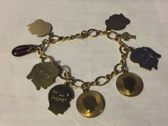 Yellow Gold Filled Grandmother's Charm Bracelet Girls & Boys Birthdate Charms #Various