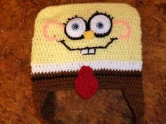 Sponge Guy Crochet Hat with ear by FASHIONABLEINFANT on Etsy