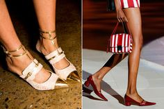 Spring 2013 Trend: Flats and Low Heels    Sexy '90s pointy heels are back and have been modernized with everything from dainty ankle straps to cylindrical heels (Peter Som, Marc Jacobs)