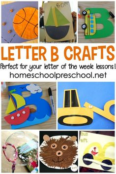 """Letter of the Week: Preschool Crafts to Teach Letter B Don't miss this amazing collection of crafts to teach Letter B featuring 20 different """"Bb"""" words! They're perfect for your Letter of the Week plans! Preschool Letter B, Letter B Activities, Alphabet Letter Crafts, Preschool Activities, Letter Tracing, Preschool Projects, Preschool Curriculum, Preschool Printables, Preschool Lessons"""
