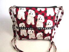 Cute Maltese Puppies Small Handmade Fabric Cross Body Purse