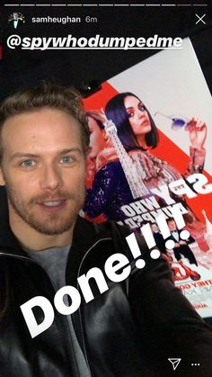 *New* Pic of Sam Heughan Sam Heughan Movies, Sam Heughan News, Sam Heughan Outlander, Sam Heugan, Sam And Cait, Jamie Fraser, Instagram Story, Spy, Faces