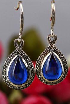 Blue Corundum 925 Sterling Silver Drop Shape Earrings
