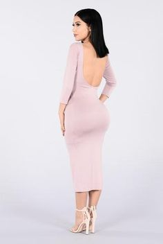 Available in Mauve and Black Long Sleeve Low Back Mid Sleeve Mini Dress Scoop Back Detail Rayon Spandex Tight Dresses, Club Dresses, Sexy Dresses, Tight Skirts, Fashion Dresses, Hot Dress, Dress Skirt, Dress Up, Work Dresses For Women
