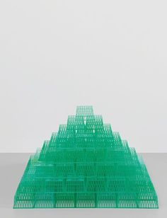 Tony Feher, Mountain Home, 2004, 140 plastic fruit containers, 20 × 26 3/10 × 30 3/5 in