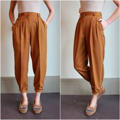 199f2f090 Vintage High Waisted Pants   Pleated Trousers   Golden Mustard Tapered  Ankle   Preppy Androgynous   Extra Small XS Small S