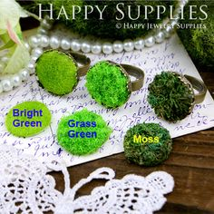 6pcs 20mm Round DIY Handmade Moss Base for Decoration (DT004). $4.00, via Etsy.