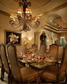 Tuscan style – Mediterranean Home Decor Tuscan Dining Rooms, Elegant Dining Room, Luxury Dining Room, Dining Room Design, Tuscan Bedroom, Dining Area, Dining Table, Luxury Interior, Interior Design