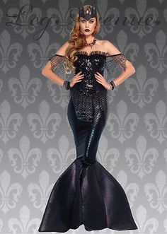 Adult womens size gorgeous wicked fairytale fancy dress Leg Avenue dark water siren mermaid costume, includes a black sequin bustier mermaid dress with net accents, attached lame skirt with shimmer fabric fin and a black glitter crown headpiece. Costumes For Women, Couple Costumes, Woman Costumes, Pirate Costumes, Princess Costumes, Group Costumes, Adult Costumes, Halloween Costumes, Fancy Dress Shops