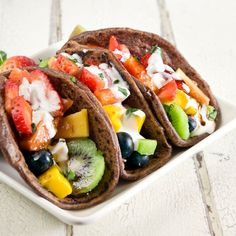 """Think outside of the """"shell""""   Fruit tacos w/ greek yogurt in a blueberry buckwheat pancake....   Delicious & Nutritious   :)   http://www.facebook.com/#!/photo.php?fbid=103371983162353=a.102319399934278.6151.100004686545477=1"""