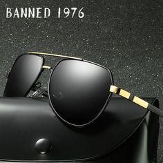 fa6aa22c19 BANNED 1976 Brand Design Rimless Aviator Sun Glasses Oculos De Sol HD  polarized fashion men drive