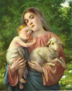 Catholic Picture Print Virgin Mary Baby Jesus with Lamb Cromo of Italy Jesus And Mary Pictures, Catholic Pictures, Baby Jesus, 1 John, Virgin Mary, Print Pictures, Lamb, Garden Sculpture, Bible Verses