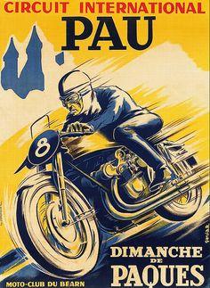 Affiche CIRCUIT INTERNATIONAL de PAU 1951 par frenchprintorama