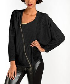 Look at this Premise Paris Black Zipper Linen-Blend Dolman Top on #zulily today!