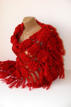 15 OFF SALE Red crochet shawllace chrochet women by seno on Etsy, $75.00