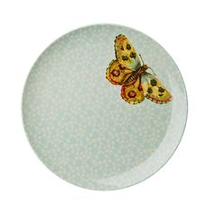 Melamine Side Plate with Soft Blue Flower and Butterfly Print